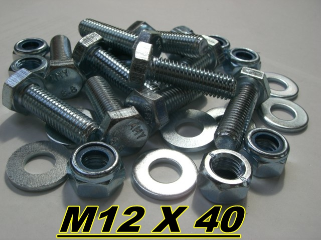 M12 X 40mm SETSCREW BOLT HIGH TENSILE STEEL WASHER NUTS Enlarged Preview